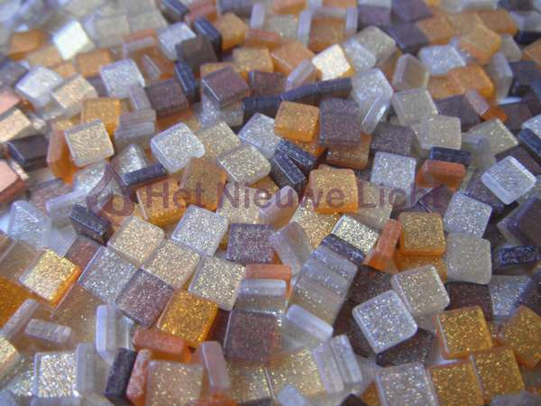 Mozaïek steentjes Glitter BRUIN 5 x 5 ca. 100 st.
