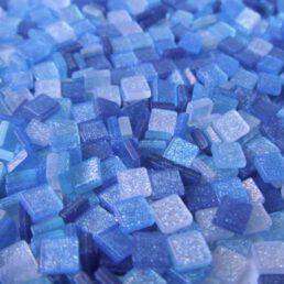 Mozaïek steentjes Glitter BLAUW 5 x 5 ca. 100 st.