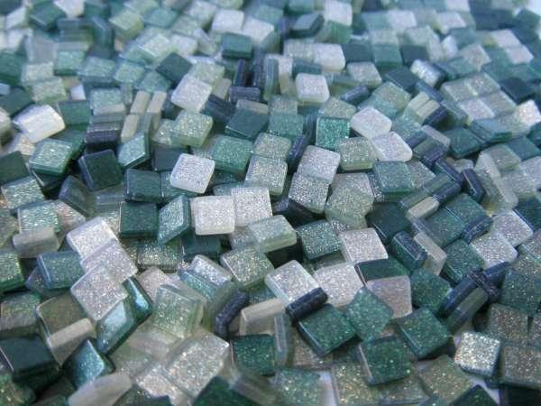 Mozaïek steentjes Glitter GROEN 5 x 5 ca. 100 st.