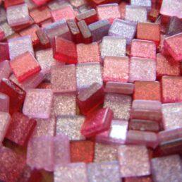 Mozaïek steentjes Glitter ROOD 5 x 5 ca. 100 st.