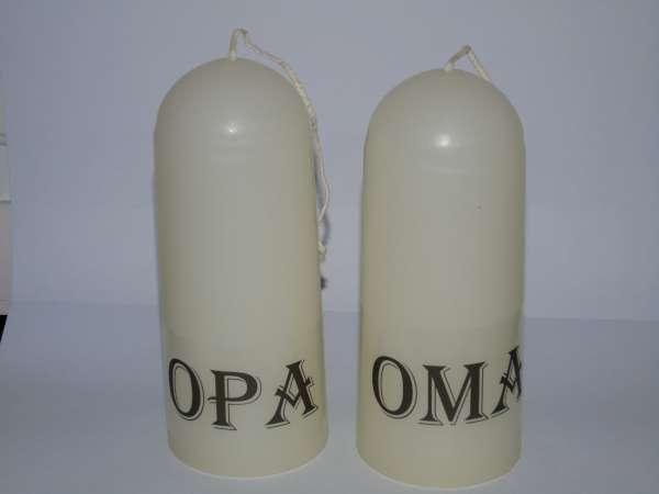 Gedenk kaarsen Opa en Oma