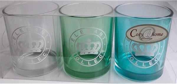 Theelicht glas set van 3 Stuks